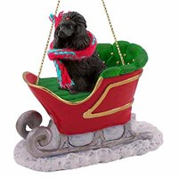 Poodle Sleigh Ride Christmas Ornament Black