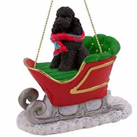 Poodle Sleigh Ride Christmas Ornament Black Sport Cut