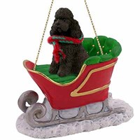 Poodle Sleigh Ride Christmas Ornament Chocolate Sport Cut