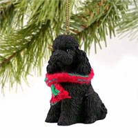 Poodle Christmas Ornament Black Sport Cut