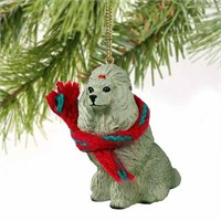 Poodle Christmas Ornament Gray