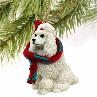 Poodle Christmas Ornament White
