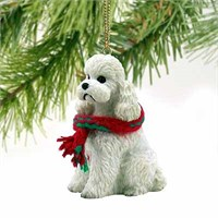 Poodle Christmas Ornament White Sport Cut