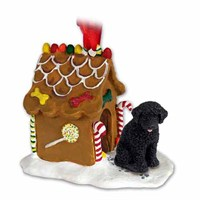 Portuguese Water Dog Gingerbread House Christmas Ornament