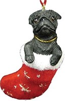 Black Pug Christmas Ornament Stocking