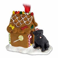 Pug Christmas Ornament Gingerbread House