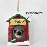 Pug Personalized Dog House Christmas Ornament