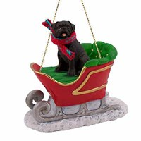 Pug Christmas Ornament Sleigh Ride