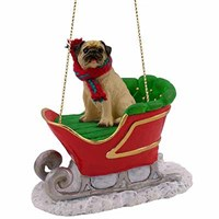 Pug Christmas Ornament Sleigh Ride Fawn