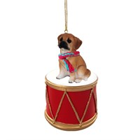 Puggle Brown Little Drummer Christmas Ornament
