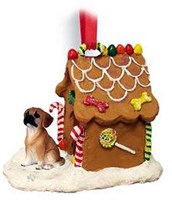 Puggle Christmas Ornament Gingerbread House