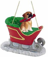 Puggle Christmas Ornament Sleigh Ride