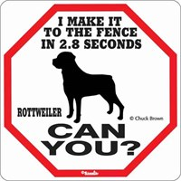 Rottweiler 2.8 Seconds Fence Sign