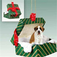 Saint Bernard Gift Box Christmas Ornament Smooth Coat
