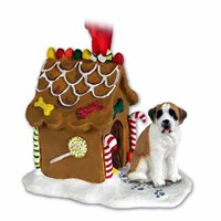 Saint Bernard Gingerbread House Christmas Ornament Smooth Coat