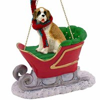 Saint Bernard Sleigh Ride Christmas Ornament Rough Coat