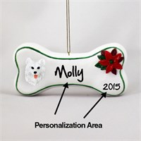 Samoyed Personalized Dog Bone Christmas Ornament