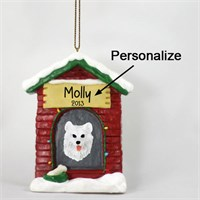 Samoyed Personalized Dog House Christmas Ornament