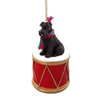 Schnauzer Black Uncropped Little Drummer Christmas Ornament