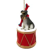 Schnauzer Gray Uncropped Little Drummer Christmas Ornament