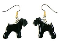 Schnauzer Earrings Uncropped Black Hand Painted Acrylic