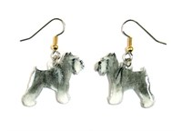 Schnauzer Earrings Gray Cropped Hand Painted Acrylic