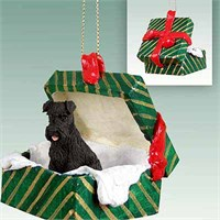 Schnauzer Gift Box Christmas Ornament Black Uncropped