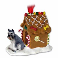 Schnauzer Gingerbread House Christmas Ornament Gray