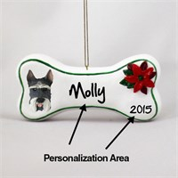 Schnauzer Personalized Dog Bone Christmas Ornament