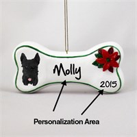 Schnauzer Personalized Dog Bone Christmas Ornament Black