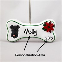 Schnauzer Personalized Dog Bone Christmas Ornament Black Uncropped