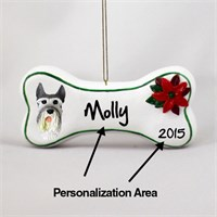 Schnauzer Personalized Dog Bone Christmas Ornament Giant