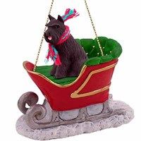 Schnauzer Sleigh Ride Christmas Ornament Black