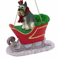 Schnauzer Sleigh Ride Christmas Ornament Giant Gray
