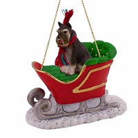 Schnauzer Sleigh Ride Christmas Ornament Gray