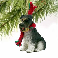 Schnauzer Christmas Ornament Gray Uncropped