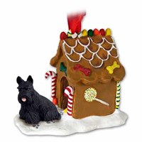 Scottish Terrier Christmas Ornament Gingerbread House