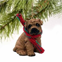 Shar Pei Christmas Ornament Brown