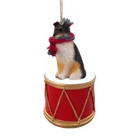 Shetland Sheepdog Tricolor Little Drummer Christmas Ornament