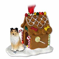 Shetland Sheepdog Gingerbread House Christmas Ornament Sable