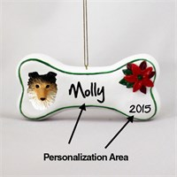 Shetland Sheepdog Personalized Dog Bone Christmas Ornament