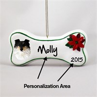 Shetland Sheepdog Personalized Dog Bone Christmas Ornament Tricolor