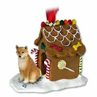 Shiba Inu Gingerbread House Christmas Ornament