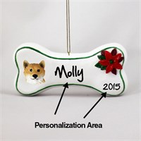 Shiba Inu Personalized Dog Bone Christmas Ornament