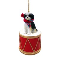 Shih Tzu Black-White Sport Cut Little Drummer Christmas Ornament