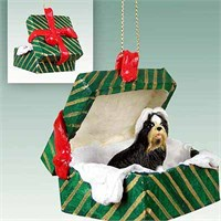 Shih Tzu Gift Box Christmas Ornament Black-White