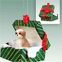 Shih Tzu Gift Box Christmas Ornament Tan Sport Cut