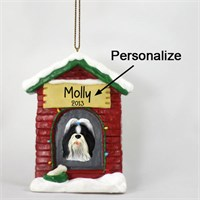 Shih Tzu Personalized Dog House Christmas Ornament