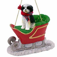 Shih Tzu Christmas Ornament Sleigh Ride