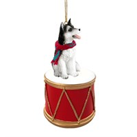 Siberian Husky Black-White Brown Eyes Little Drummer Christmas Ornament